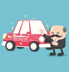 Boss businessman give a car is redgifts vector