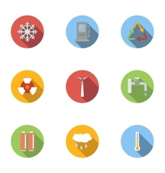 Production of energy icons set flat style vector