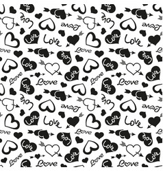 Love theme hearts valentines day seamless pattern vector
