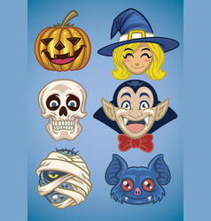 Cartoon of halloween characters set vector