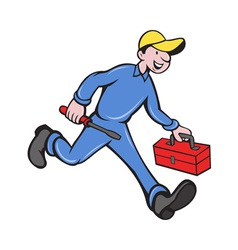 Electrician mechanic with screwdriver toolbox vector
