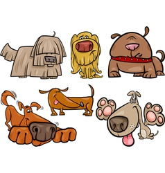 Funny dogs set cartoon vector