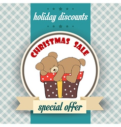 Christmas sale design with teddy bear vector
