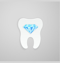 Tooth with blue diamond vector