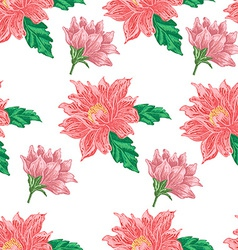 Seamless pattern with red flowers on a white vector