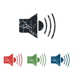 Loudspeaker grunge icon set vector
