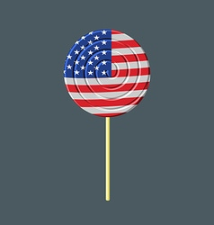 Lollipop with american flag usa caramel candy vector