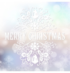 Merry christmas congratulations card on blurry vector