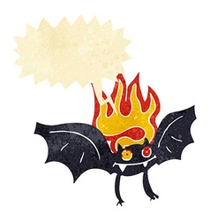 Cartoon vampire bat with speech bubble vector