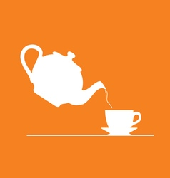 Teapot on orange vector