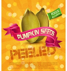 pumpkin seeds on an orange background with ribbon vector image