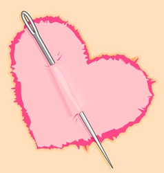 Needle in pink heart vector