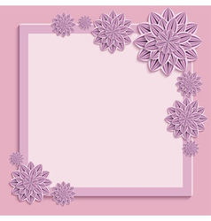 Pink square frame with 3d paper flowers vector