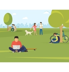 People with gadgets using outdoors vector image