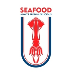 Seafood restaurant retro icon with european squid vector