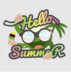 Hello summertime badge design vector