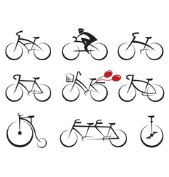 bicycles icons set vector image