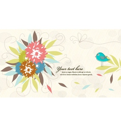 bird with floral vector image vector image