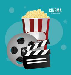Cinema reel film pop corn clapper movie vector