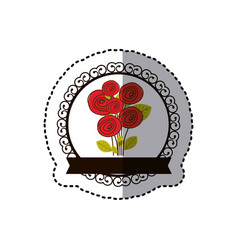 Color decorative emblem with rounds roses inside vector