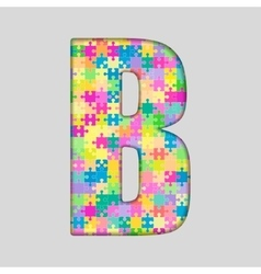 Color Piece Puzzle Jigsaw Letter - B vector image vector image
