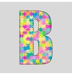 Color piece puzzle jigsaw letter - b vector
