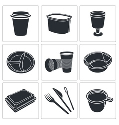 Disposable tableware icon collection vector image vector image