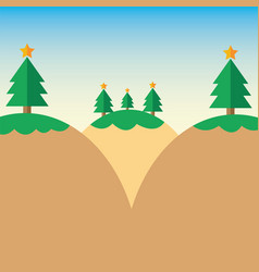 Flat design christmas tree on mountain vector