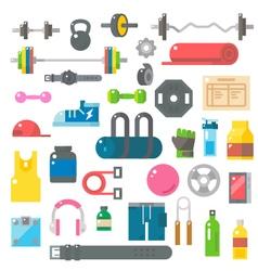 Flat design of gym items set vector