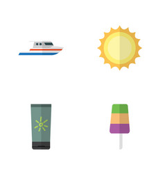 Flat hot set of boat moisturizer sundae and vector