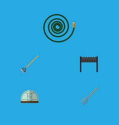 Flat icon garden set of hay fork barbecue vector