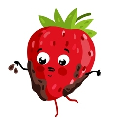 Funny fruit strawberry isolated cartoon character vector