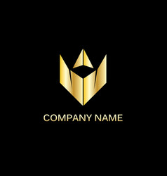 gold triangle company logo vector image vector image