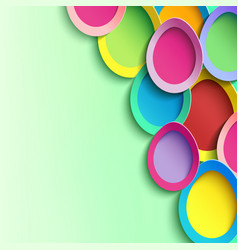 Green background with 3d colorful easter egg vector
