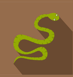 Green snake icon flat style vector