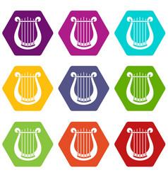 Harp icon set color hexahedron vector