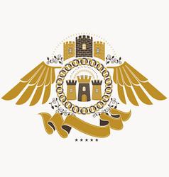 heraldic coat of arms decorative emblem of eagle vector image