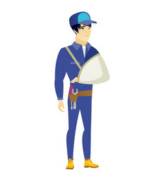 injured mechanic with broken arm vector image vector image