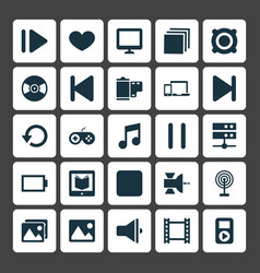 Media icons set collection of empty accumulator vector
