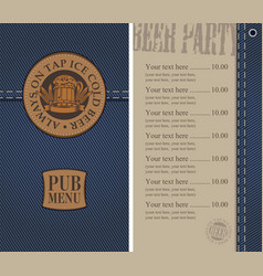 Menu for beer pub on denim background with price vector