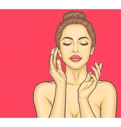 Pop art beautiful young woman makes a face massage vector image vector image
