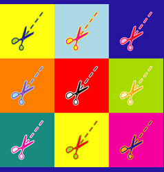 Scissors sign pop-art style vector