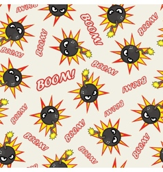Seamless texture with stylized cartoon bombs vector image vector image