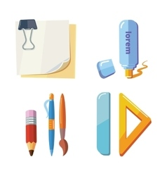 Set of cartoon stationery vector