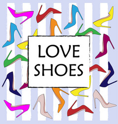 Set of colorful fashion womens shoes vector