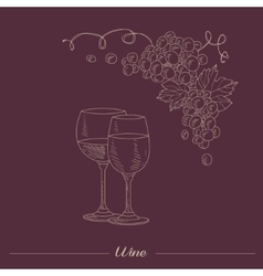 Two lasses With Different Wine Hand Drawn vector image vector image
