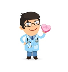 Valentines Day Poster with Doctor vector image