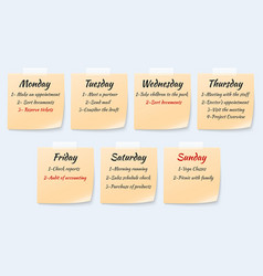 Weekly job plan on sticky notes ugent work event vector