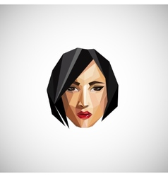 with a female face in origami style vector image vector image