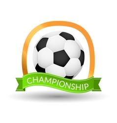 Soccer championship emblem design template golden vector